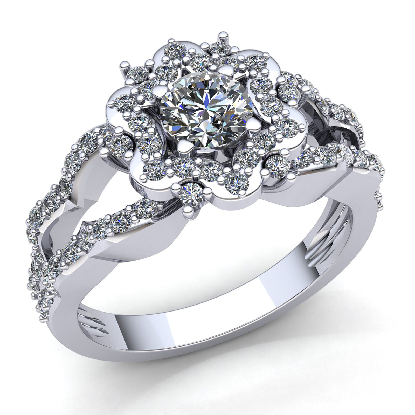 0.5ct Round Cut Diamond Ladies Floral Halo Solitaire Engagement Ring 10K gold