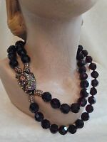 Heidi Daus 2 Strand Fu Dog Purple Burgundy Necklace