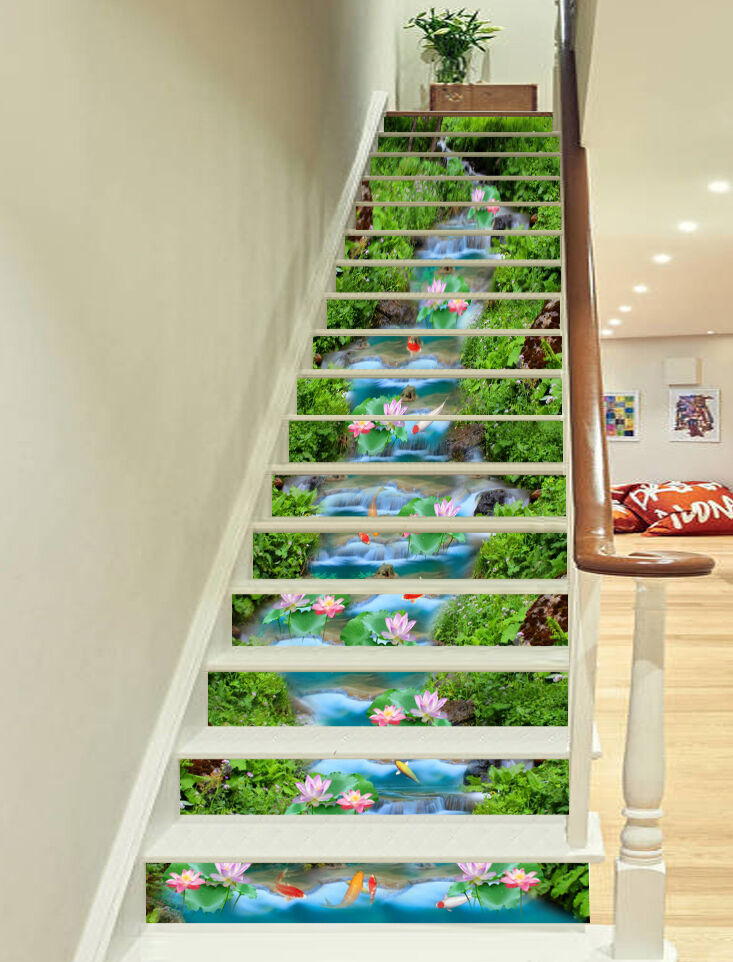 3D river lawn flower fish Risers Decoration Photo Mural Vinyl Decal Wallpaper CA