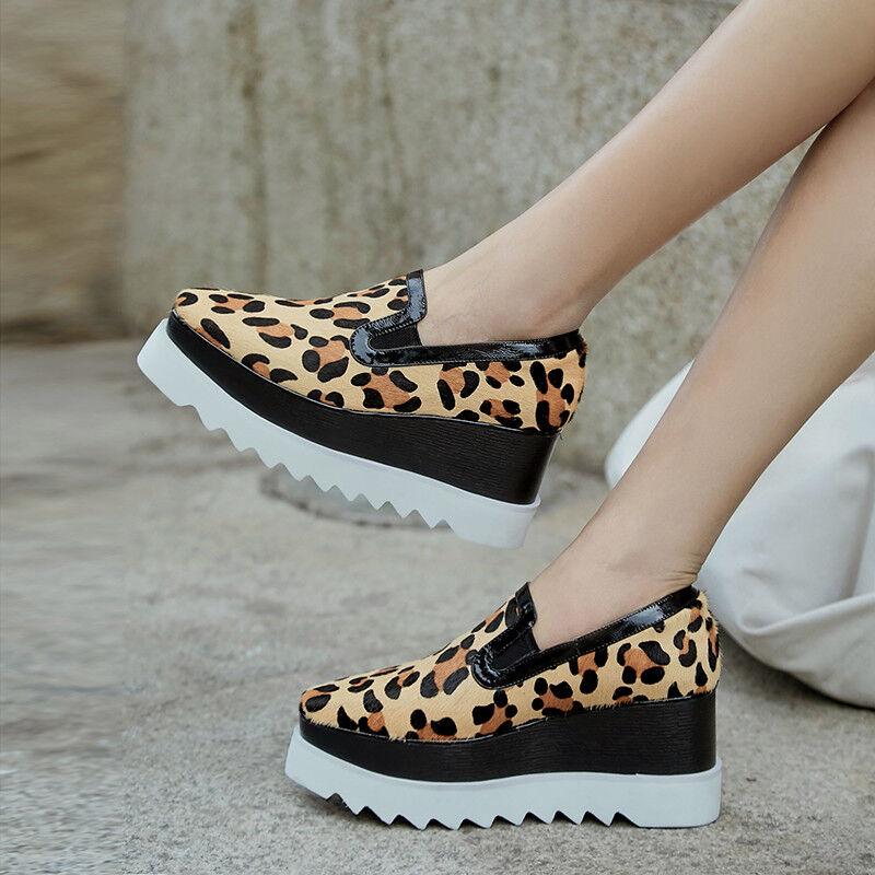 femmes Fashion Horse Hair Platform chaussures Leopard Print Wedge High Heels Creeper