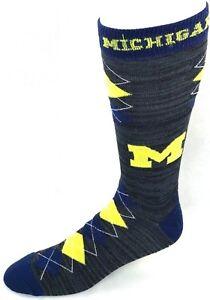 Michigan-Wolverines-NCAA-Black-RMC-Navy-Yellow-Fan-Nation-Crew-Socks