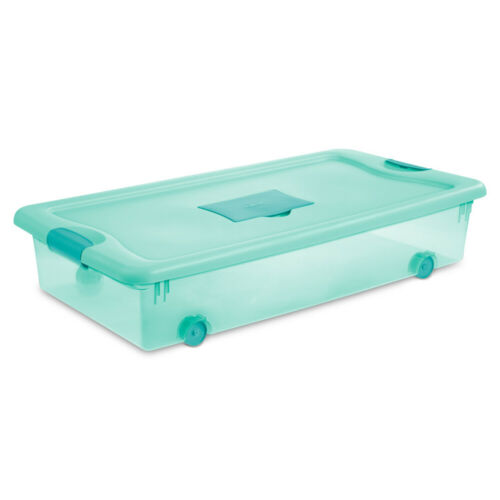 Sterilite 56 Quart Wheeled Fresh Scent Storage Container Box with Lid 4 Pack