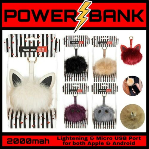 Portable 2000mAh Universal Mobile Pom Pom Handbag Power Bank Battery USB Charger