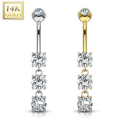 Solid WHITE GOLD Triple Teardrop Dangle BELLY NAVEL RINGS Piercing Jewelry 14K