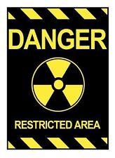 Danger Restricted Area Vintage Metal Sign Car Bumper Sticker Decal 5/'/' x 4/'/'