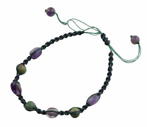 Bracelet Macrame Amethyst Stone Real Creation Unique Hand Made 21275