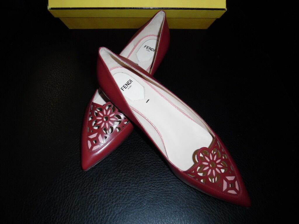 Fendi Marguerite Marguerite Marguerite corte por láser Punto De Cuero-Toe Zapatos de tacón bajo Zapatos Nuevo En Caja  900 venta al por menor  gran descuento