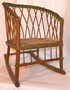 Antique Wicker Rocker Childs Rocking Chair Wood Seat