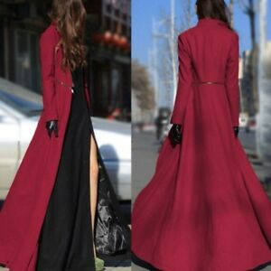 new products elegant shape united kingdom Details about Women Long Sleeve Maxi Dress Coat Floor Length Jacket Plus  Size Long Trench Coat