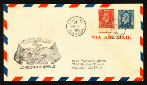1933 FIRST FLIGHT CANADIAN AIRMAIL #3307a. LONDON, ONT. TO DETROIT (ESP#2145)