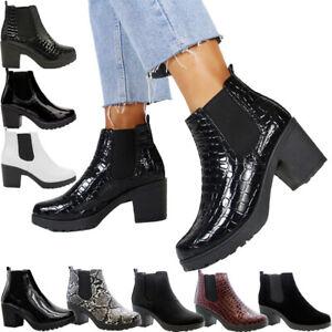 Womens Chelsea Block Flat Heel Riding Biker Elasticated Casual Ladies Ankle Boot