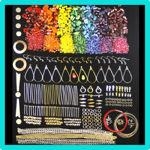 Rainbow-coloured-beads-and-Findings-Kit-For-Jewellery-Making