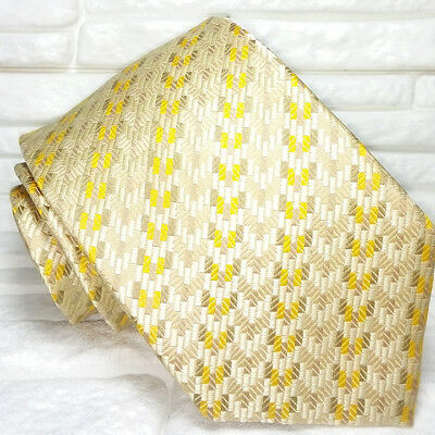 Consegna Veloce Cravatta Uomo Seta Oro Su Oro Cuciture Rosse Retro Jacquard Made In Italy