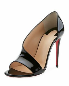 c621edfa18e Details about Christian Louboutin PHOEBE 100 Asymmetric Patent Heel Pump  Sandal Shoe Black 38