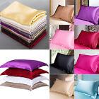 Hot Summer Silk Satin Soft Pillow Cases Queen Standard Comfort Solid Protector