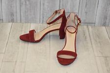 211217 Nine West Womens Pruce Red Suede Ankle Strap Heels Size 8