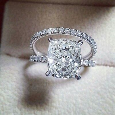 Certified Engagement Wedding Side Stone Ring 14K White Gold 3.50Ct Round Diamond