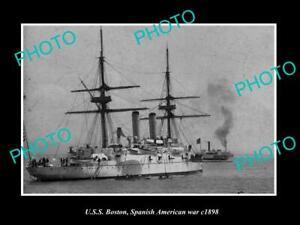 OLD-POSTCARD-SIZE-PHOTO-OF-SPANISH-AMERICAN-WAR-BATTLE-SHIP-USS-BOSTON-c1898