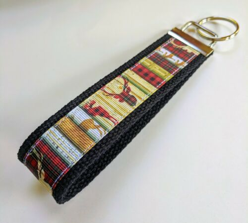 Handmade Stag Buck Deer Scrapbook Style Key Fob Key Chain Wristlet