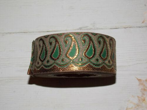 40mm Oro Verde Oscuro Bronce Metálico de la cinta de adorno bordado indio