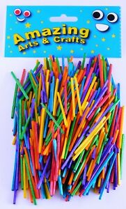 Amazing Arts and Crafts Matchsticks, Assorted Colours 500pcs