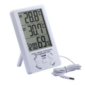 Digital LCD Innen Außen Thermometer Hygrometer Außenfühler Sensor Messer mit Uhr