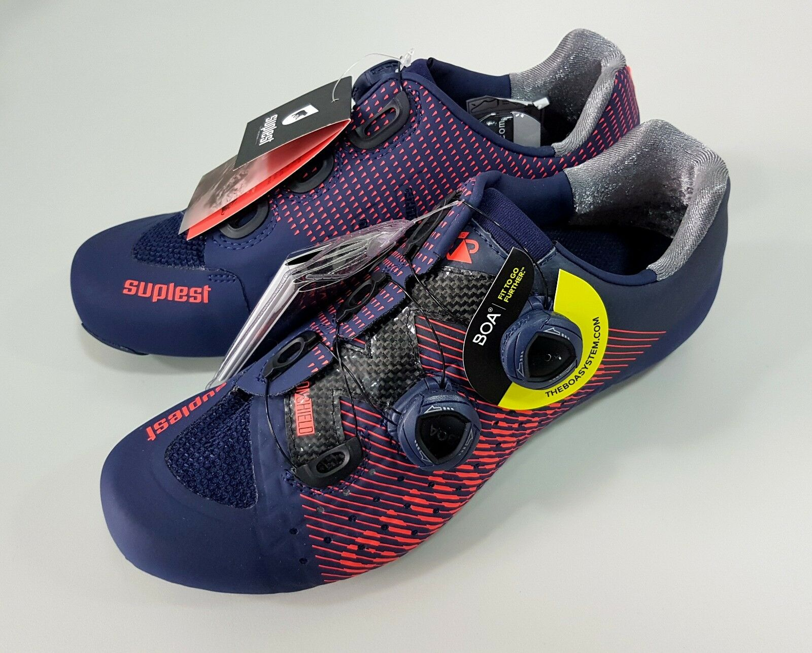 Suplest Edge 3 Pro Road Carbon Bicycle Cycling shoes Size 42 Navy Coral