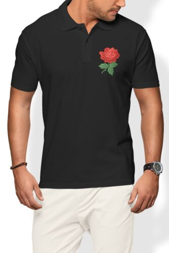 England Rose Polo Shirt Men Rugby Badge Nations Supporter Top Clothes