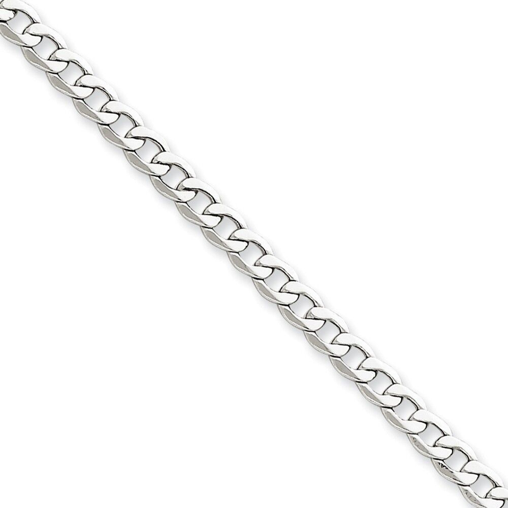 14k White gold 4.3mm Semi-Solid Curb Link Chain Bracelet 7 Inch
