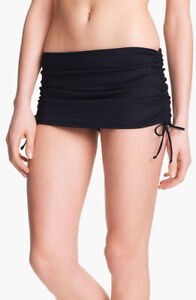 Sz-12-Black-La-Blanca-Adj-Drawstring-Sides-Skirted-Hipster-Bikini-Swim-Bottom