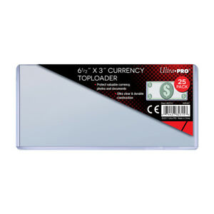 100 Ultra PRO Regular Currency Sleeves /& Toploaders Money Note Bill Top Loader