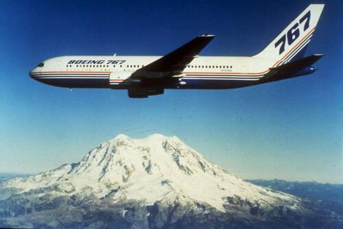 Photo Mount Rainier ca 1984 Boeing 767 Airplane Seattle WA