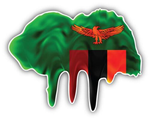 Zambia World Flag Blot Car Bumper Sticker Decal 3/'/' 5/'/' or 6/'/'