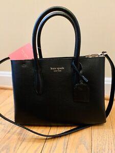 Kate-Spade-Eva-Small-Structured-Satchel-Crossbody-Black-Leather-Purse-Bag-NWT