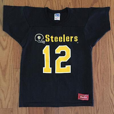 quality design ac5b7 74b50 Vtg 80s Terry Bradshaw Pittsburgh Steelers Jersey Shirt Youth L Adult XS  Rawling | eBay