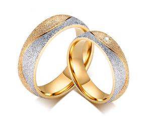 Anello-Coppia-Fede-Fedi-Fedine-Fidanzamento-Matrimonio-Acciaio-Oro-Argento-Love