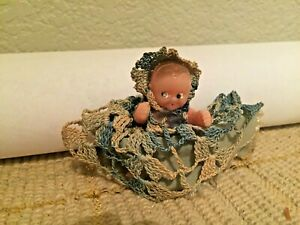 Celluloid Girl Vintage 1940's Jointed Doll in Crocheted Outfit