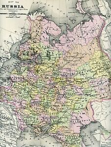 Original 1892 Antique Engraved Map RUSSIA Moscow St Petersburg