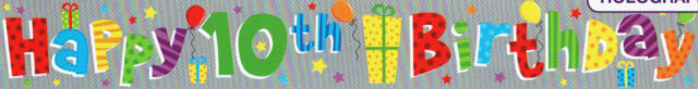 Fun House 10 Today HAPPY 10th BIRTHDAY Plastic Banner Party Decoration 12 Foot
