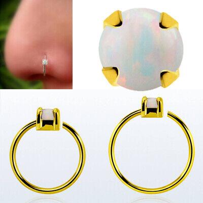 "20G Helix 5//16/"" Nose Ring Hoops 925 Silver Hoop Seamless 2mm Gemstone Prong Set"