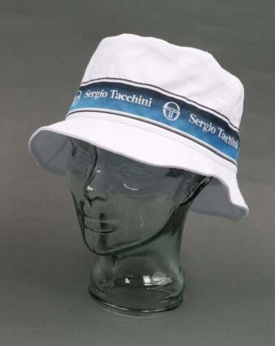 cotton Sergio Tacchini Bucket Hat in White retro 80s 90s summer hat