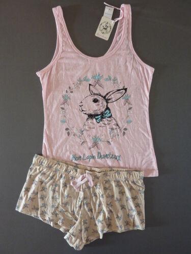 Hase Damen Pyjama Shorty Set Kurz Schlafanzug Top Shorts Ostern XS 32-34 Primark