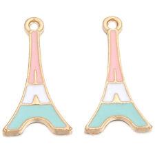 10x Hot Golden Tower Pink White&Blue Enamel Color Alloy Pendants Fit Necklaces L