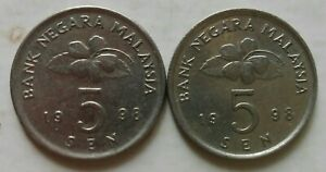 Second Series 5 sen coin 1998 2 pcs