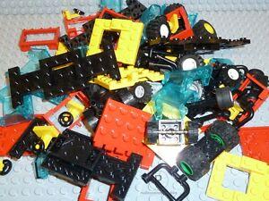 LEGO-60-Autoteile-Zubehoer-Scheiben-Fahrgestell-Lenkrad-Raeder-Chassis-Reifen