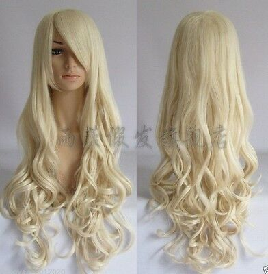 Hot! Fashion Light Blonde Long Curly Women's Cosplay Wig w1