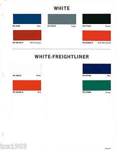 Paint Colors For Trucks >> 1965 WHITE / FREIGHTLINER TRUCK Color Chip Paint Sample Brochure/Chart: DuPont | eBay