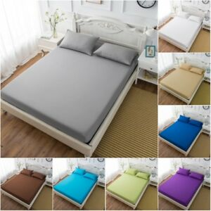 9-Size-Fitted-Sheet-Bedding-Cover-Bed-Sheet-Pillow-Case-Soft-Comfort-Solid-Color
