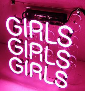 "GIRLS GIRLS GIRLS HOME LAMP Door Art Bar Beer Game POSTER NEON LIGHT SIGN 9""X9"""