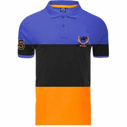 Mens Polo Shirt Big Stripe Contrast Design Top Short Sleeve 100/% Cotton T-Shirt